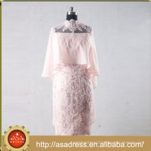 ASAM-13 High Quality Chiffon Beaded Lace Appliques Knee Length High Collar Pink /Red Mother of the Bride Dresses