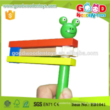 Colorful Early Education Lovely Animal Rattle Wooden Music Toy