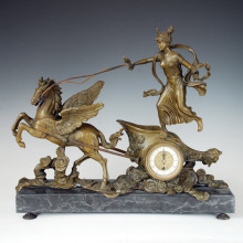 Clock Statue Horse Chariot Bell Bronze Sculpture Tpc-033