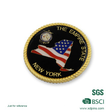 Customized Rope Edge Gold Plated Military Souvenir Coin