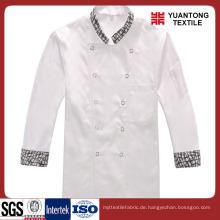 Weiße Farbe Polyester / Baumwolle Chef Stoff