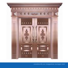 Lujo real cobre bronce puerta entrada puerta seguridad entrada principal doble puerta