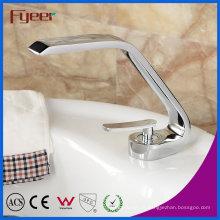 Faucet da bacia do cromo de Fyeer com única torneira quente & fria do misturador do punho