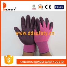 Розовый Красный нейлон с темно-фиолетовый Нитриловые перчатки Dnn818