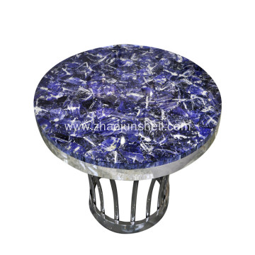 CANOSA Blue-veins Stone Coffee Table with Sliver Stainless Steel