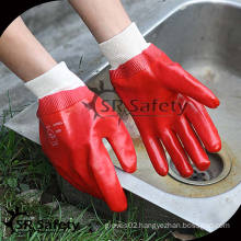 SRSAFETY Best quality red chemical pvc glove foam rubber