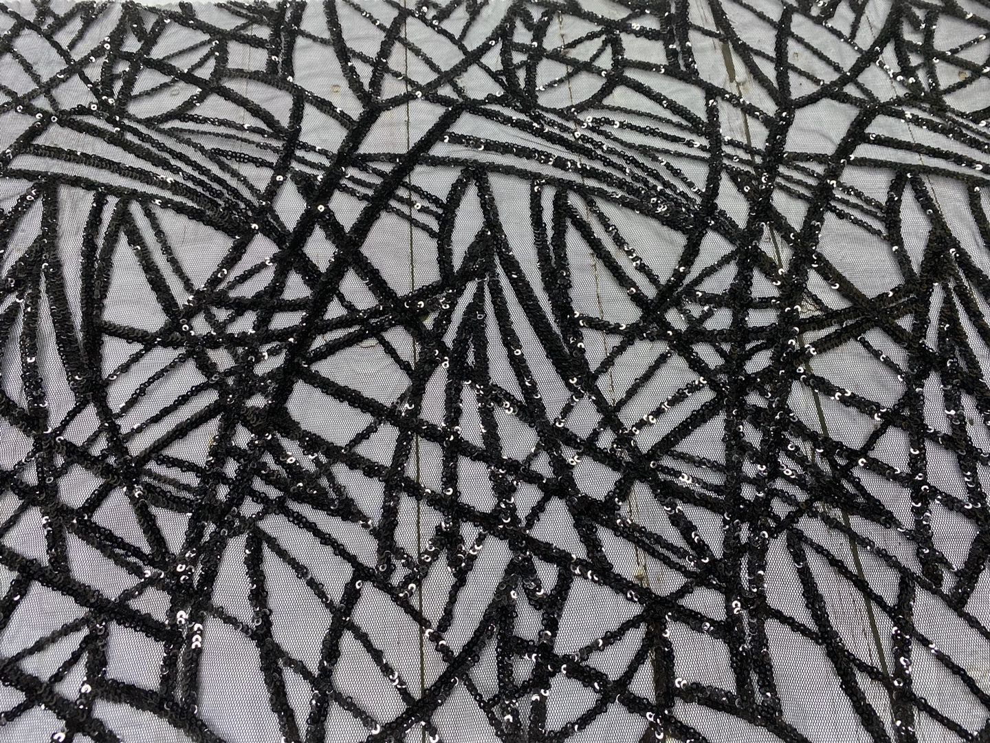 Black 3mm Sequins Embroidery Fabric