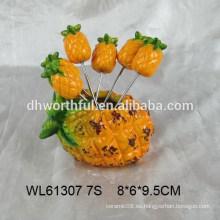 Titular de la horquilla de fruta de cerámica de diseño divertido de piña