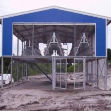 Casa de pollo de acero estructural de pre-ingeniería con sistema de elevación de jaulas (PCH-5)