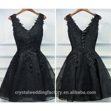 Lace Cocktail Dresses Charming Party Puffy Sleeveless Black Cocktail Dress CWFc2436
