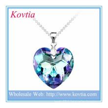 Mode brillant cristal coeur bleu océan brillant coeur cassé bijoux en argent