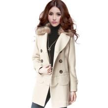 Estilo coreano inverno casacos longas multi desgaste casaco de peles de mulheres de casaco duplo brasão de lã