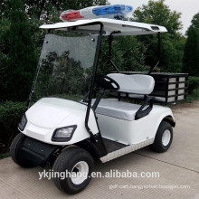 2 seat police golf cart with a cargo box in the back of seat for sale