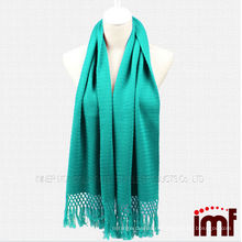 Hot Fashionable Solid Color Turquoise Knitted Kashmir Scarf Shawls for Women