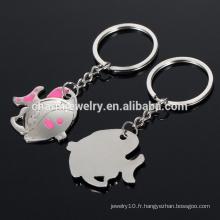 Cute fish love couple clés / porte-clés / cadeau de mariage petit cadeau métallique YSK003