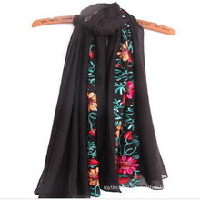 Hot wide Breathable Soft fashion women love best size 180*90 cm low moq Embrodiery scarf cotton scarf in mumbai