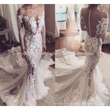 High Quality New Fashion Bridal Gown Custom Size Lace Muslim Mermaid Long Sleeve Wedding Dresses WW1420