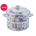 enamel steamer cooker pot with bakelite handle and 24CM Blue Rose Flower Decal Printing