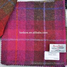 Pink plaid authorized harris tweed fabric 100% virgin wool 150cm width