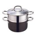 Schwarzer Dampfgartopf Dampftopf zum Kochen