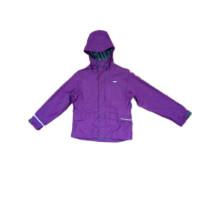 Фиолетовый с капюшоном пу плащи для детей