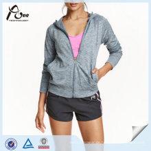 Frauen Sport Hoodie Großhandel Plain Full Zip Gym Sweatshirt Hoody