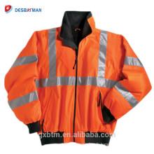 Usure réfléchie de coutume de Vis de haute visibilité ANSI Classe 3 Veste de sécurité d'hiver de haute visibilité imperméable chaude de molleton