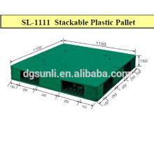 Palet de plástico reforzado de doble tapa plana estándar de los lados