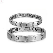 High polish wholesale silver Tungsten bracelet, health magnetic stone bracelet