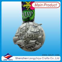 2014 3D Spezielle Zink-Legierung Medaille Antike Silber Race Medaille mit Hals Lanyard, Metall Souvenir Medaillon Award (LZY-201300074)