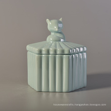 Cute Pearl Glazed Ceramic Candle Containers with Animal Shaped Lid