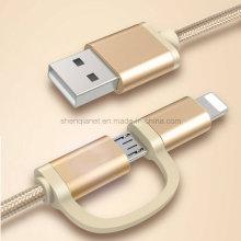 2 em 1 cabo trançado de nylon da sincronização da carga de USB para micro e telefone do ios