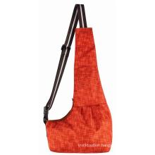 Cross-border new product cat and dog travel orange plaid Oxford cloth crossbody pet backpack