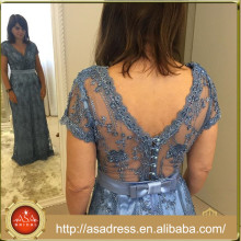 ABS-011 Elegant Short Sleeve A-Line Low Back Wedding Mother Gowns Beading Button Back 2015 Mother of The Bride Dresses