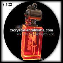 Chaveiro de cristal LED com imagem 3D gravado a laser dentro e em branco chaveiro de cristal G123
