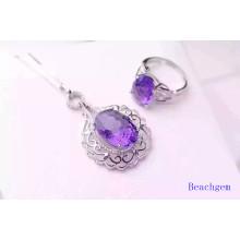 Fashion Jewellery Set with Amethyst Gemstones