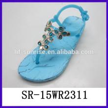 Nuevas sandalias de la jalea de la correa de la jalea t de la manera del diseño con sandalias de la jalea de las sandalias de los rhinestones