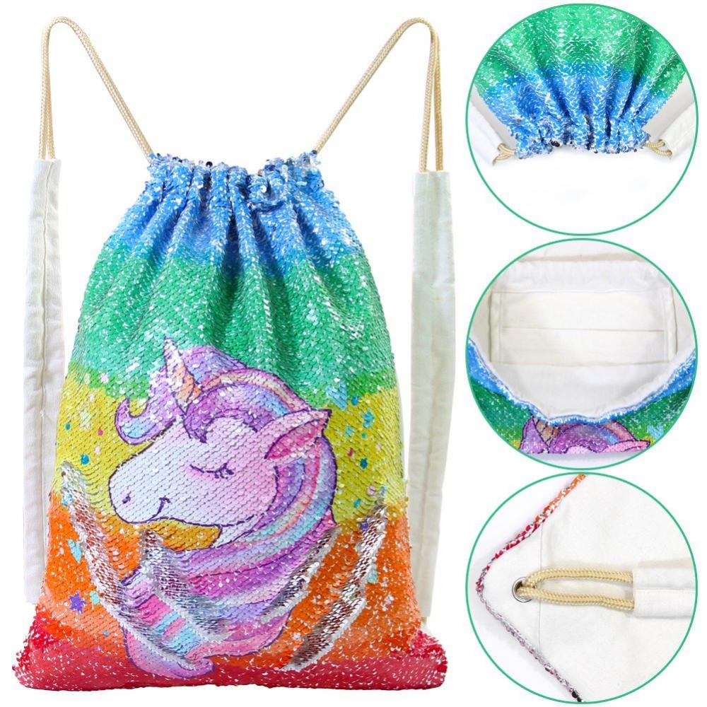 Unicorn Sequin Drawstring Bag 1