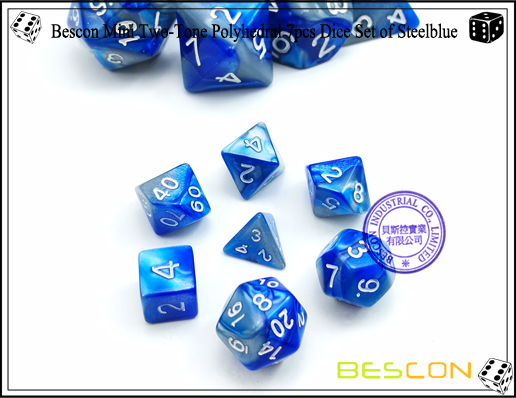 Bescon Mini Two-Tone Polyhedral 7pcs Dice Set of Steelblue-2