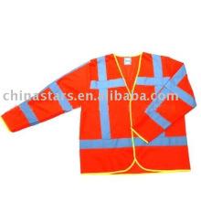 Rojo de alta visibilidad Chaleco de seguridad reflectante de mangas largas