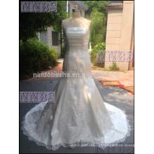 Mermaid Strapless Vestido De Noiva De Cetim Com Lace Appliques Ruched Bodice Bridal Dresses