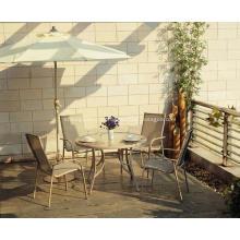 Deaktivieren Sie Outdoor Sling Möbel 5pc ESS-Set mit Glasplatte