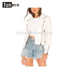 chaqueta de manga larga fresca de la moda de la chaqueta de cuero de las mujeres blancas