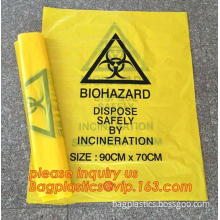 Plastic biohazard waste bags for clinical waste, big capacity yellow biohazard bag with gusset, Autoclavable Biohazard Medical