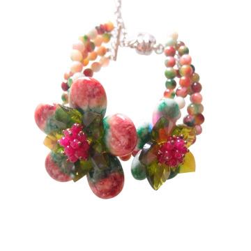 Bohème fait à la main coloré fleur pierre perlée Bracelet