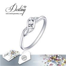 Destino joias cristal de Swarovski anel simples