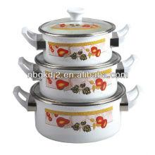 3pcs enamel casserole sets with bakelite handle