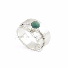 Handmade Textured Gemstone 925 Sterling Silver Ring