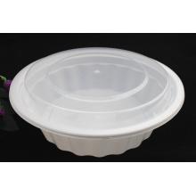 Recipiente de alimento redondo descartável de 2500ml PP Microwavable plástico com tampa / tampa