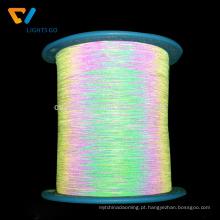 Fio reflexivo do arco-íris do lado dobro / linha reflexiva iridescente para a camisola de confecção de malhas